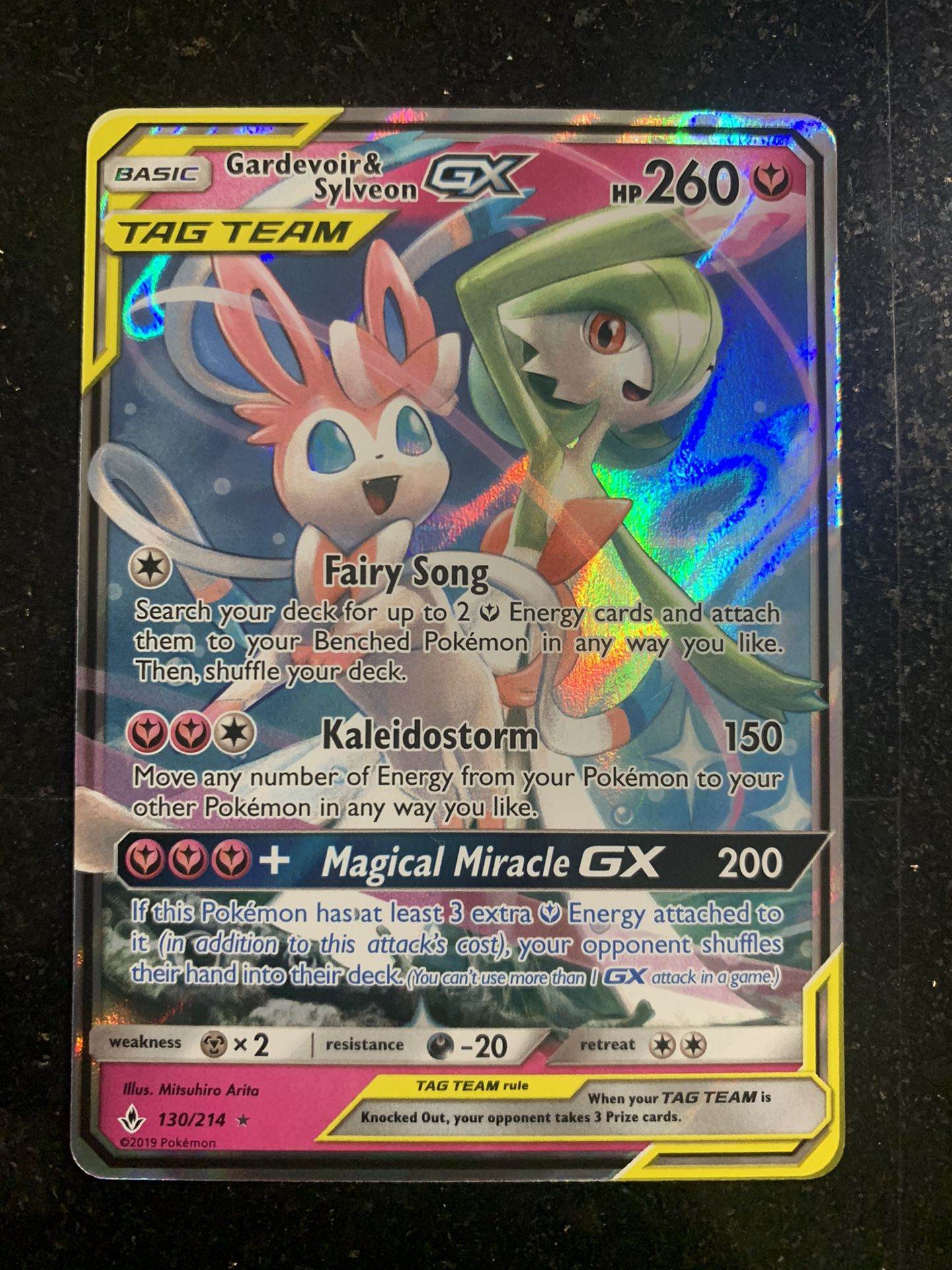 Gardevoir Sylveon GX 130/214 Ultra Rare Holo Unbroken Bonds Sun And Moon Pokemon