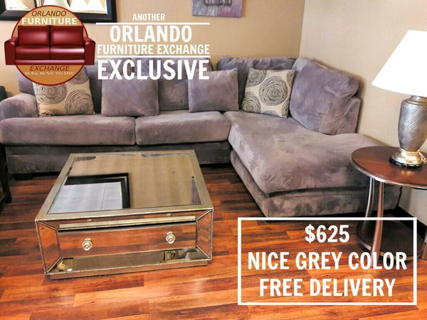 625 Modern Grey Ultra Suede Sectional Sofa Couch Free Delivery For In Oviedo Fl Offerup