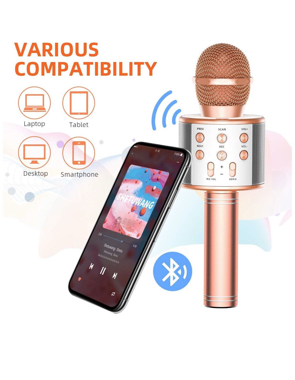 TRONICMASTER Wireless Karaoke Microphone Bluetooth, 3 in 1 Wireless Portable Handheld Mic Karaoke Machine for Christmas Home Birthday Party, Voice Di