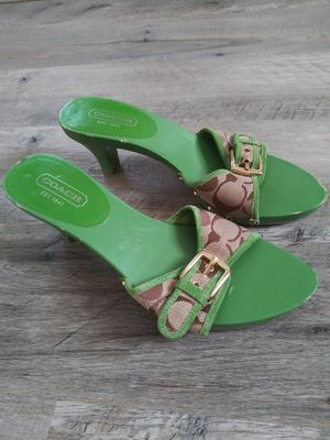 Photo Womens COACH Sandal Heels with Buckles, Size 7, Green
