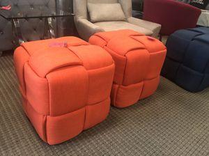 Set of 2 fabric orange checks ottoman for Sale in Lincolnia, VA
