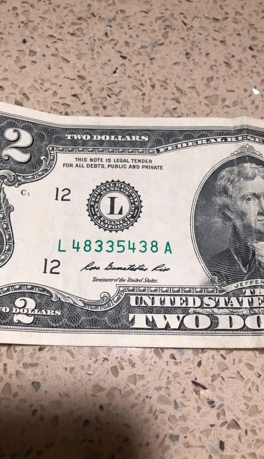 Original 2 dollar bill