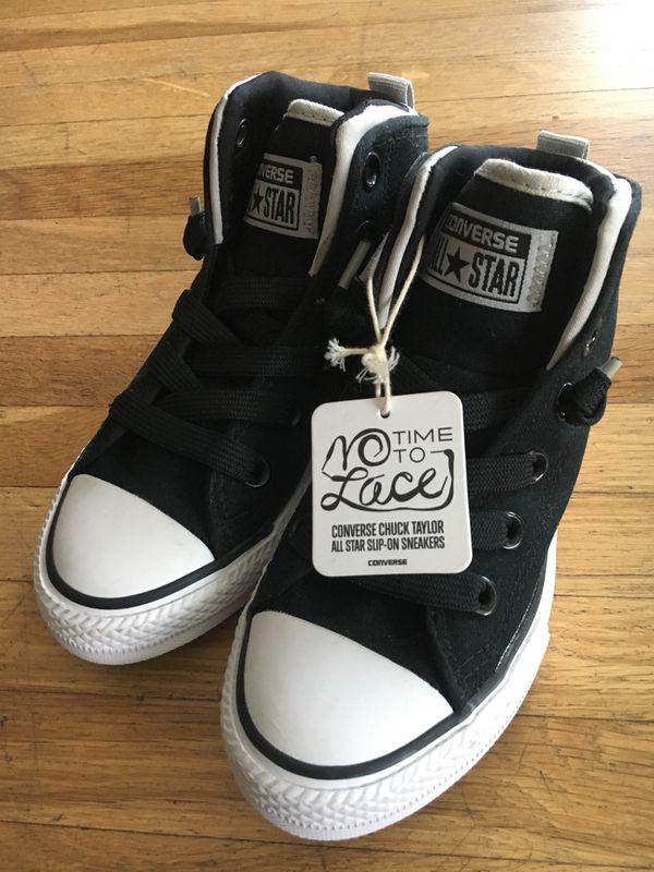 2449ee0208e85c Kids Converse - Black - No tie Converse - Kid Size 13 for Sale in ...