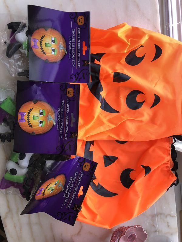 Three Pumpkin Drawstring Bags And Mr Potato Head Decorating Kits