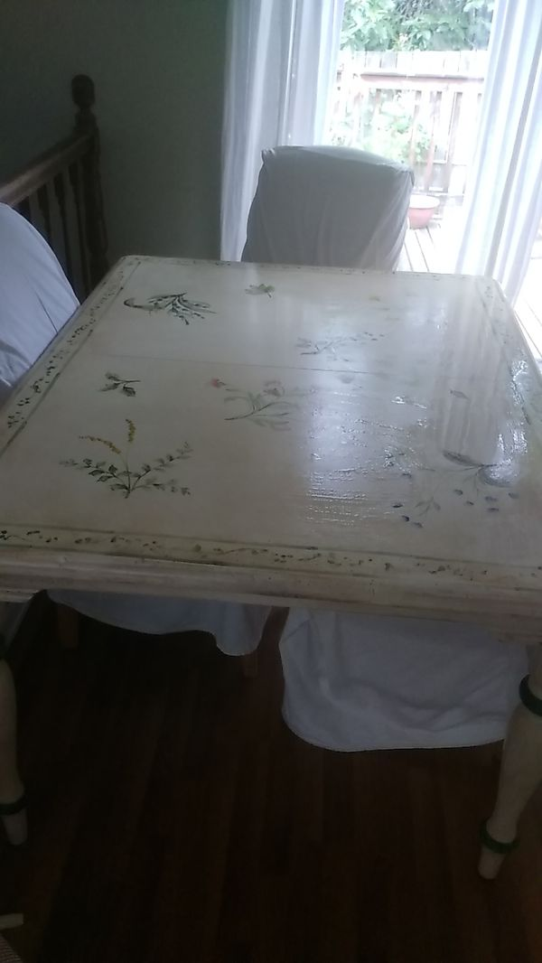 Hand Painted Wooden Table With Six Upholstered Custom