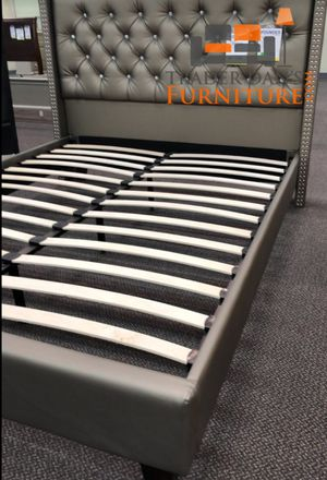 Brand New Queen Size Silver Leather Platform Bed Frame for Sale in Silver Spring, MD