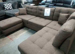 Brand New Coffee Color Linen Sectional Sofa Couch +Ottoman for Sale in Silver Spring, MD