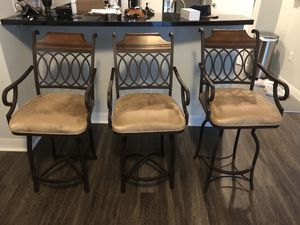 3 metal, suede, and wood barstools for Sale in Orlando, FL