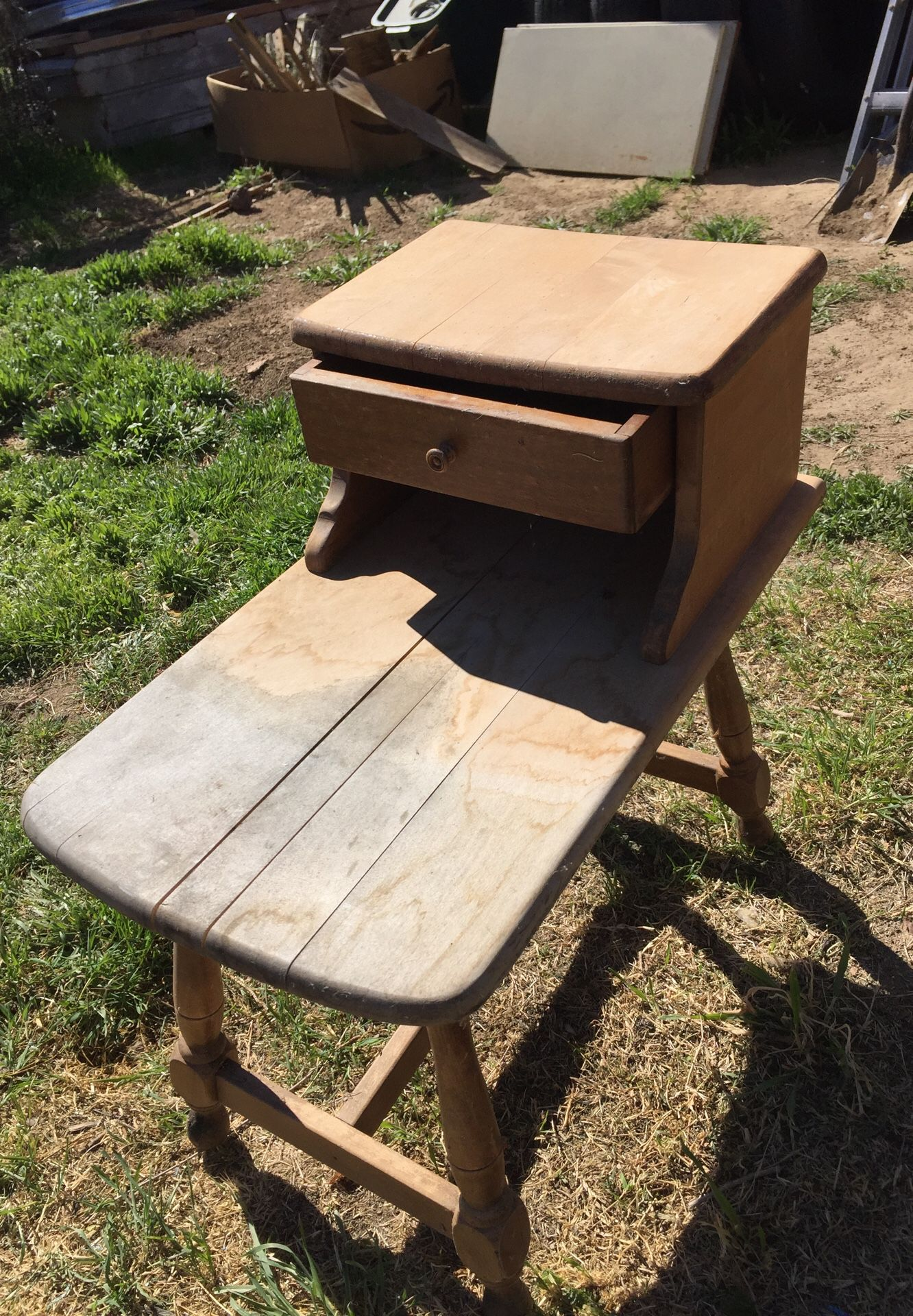 Small wooden side table, antique