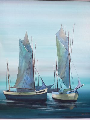 Photo Mid-century modern oil painting of two blue sailboats. $89. Can be seen at Chic 'N Tique antique store in Seminole in the Lost & Found booth.