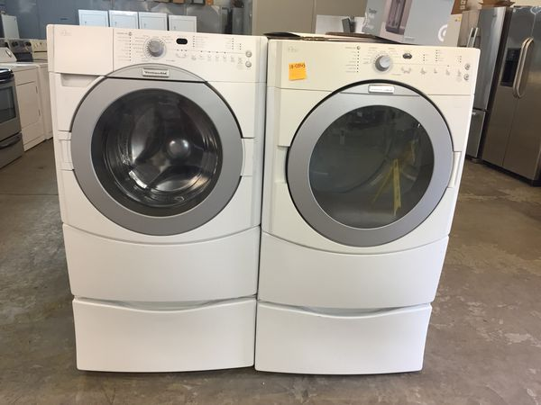 Kitchenaid White Front Load Washer And Dryer Set For In