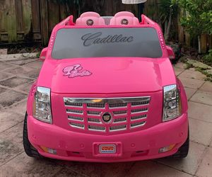 Photo Power wheels, ride on toys, toy car, baby car, toddlers Electric kids car 12V Cadillac Escalade Barbie Pink