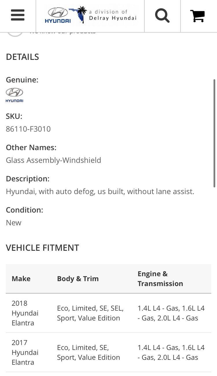 2017-2018 Hyundai Elantra Windshield New OEM