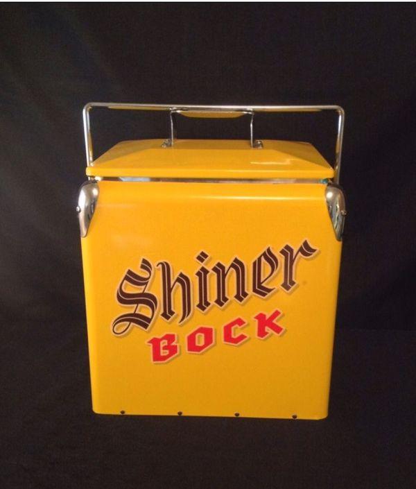 New Shiner Bock metal cooler.