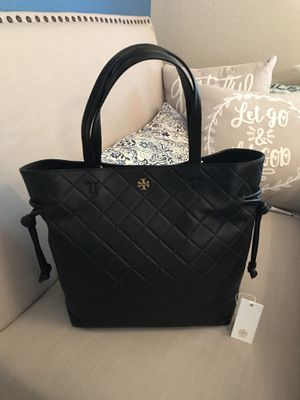 e367c25ea24ad TORY BURCH Georgia Slouchy Diamond Quilted Leather Shoulder Tote (HARD TO  FIND IN BLACK)