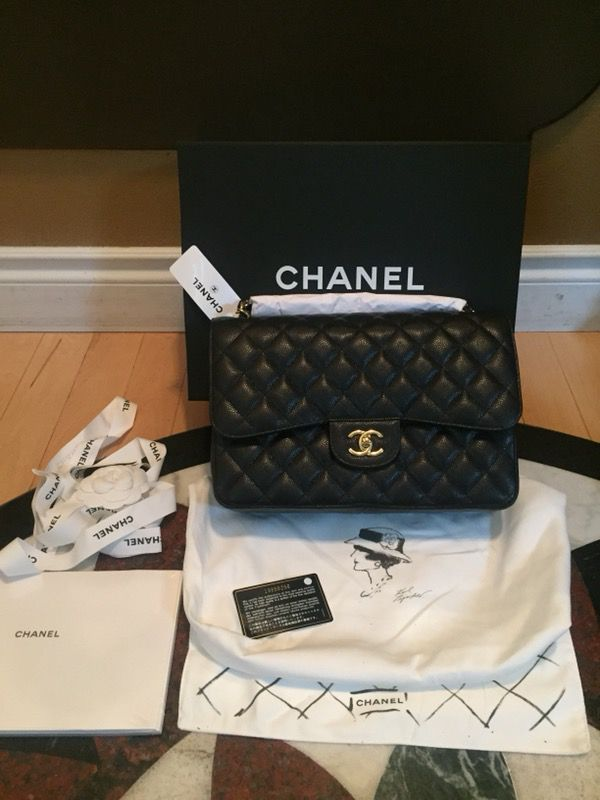 3b1e9e8aafbe Authentic NWT Chanel Classic Jumbo In Black Caviar Leather Quilted Gold  Hardware