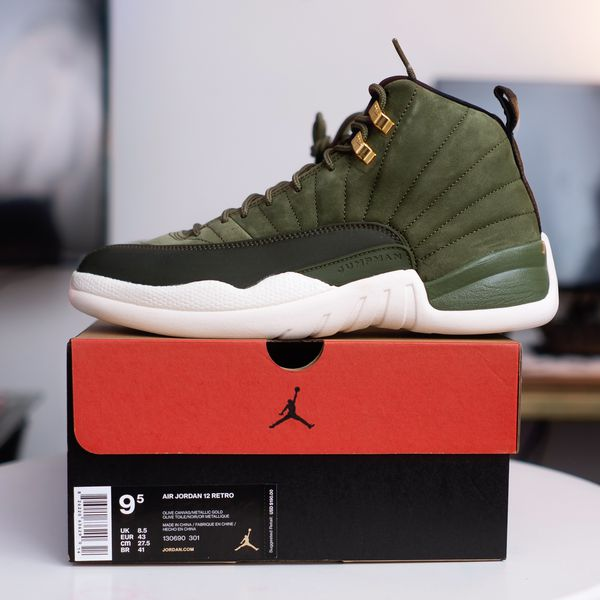 10fc34cdd2ae NIKE AIR JORDAN RETRO 12   OLIVE GREEN Class of 2003 - size 9.5 brand new