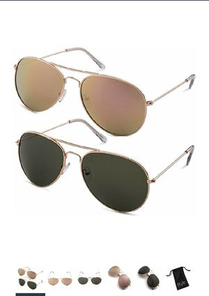 New 2 pair Aviator sunglasses with protective case for Sale in Oakton, VA