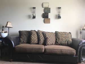 Leather/fabric couch and loveseat for Sale in Oxon Hill, MD