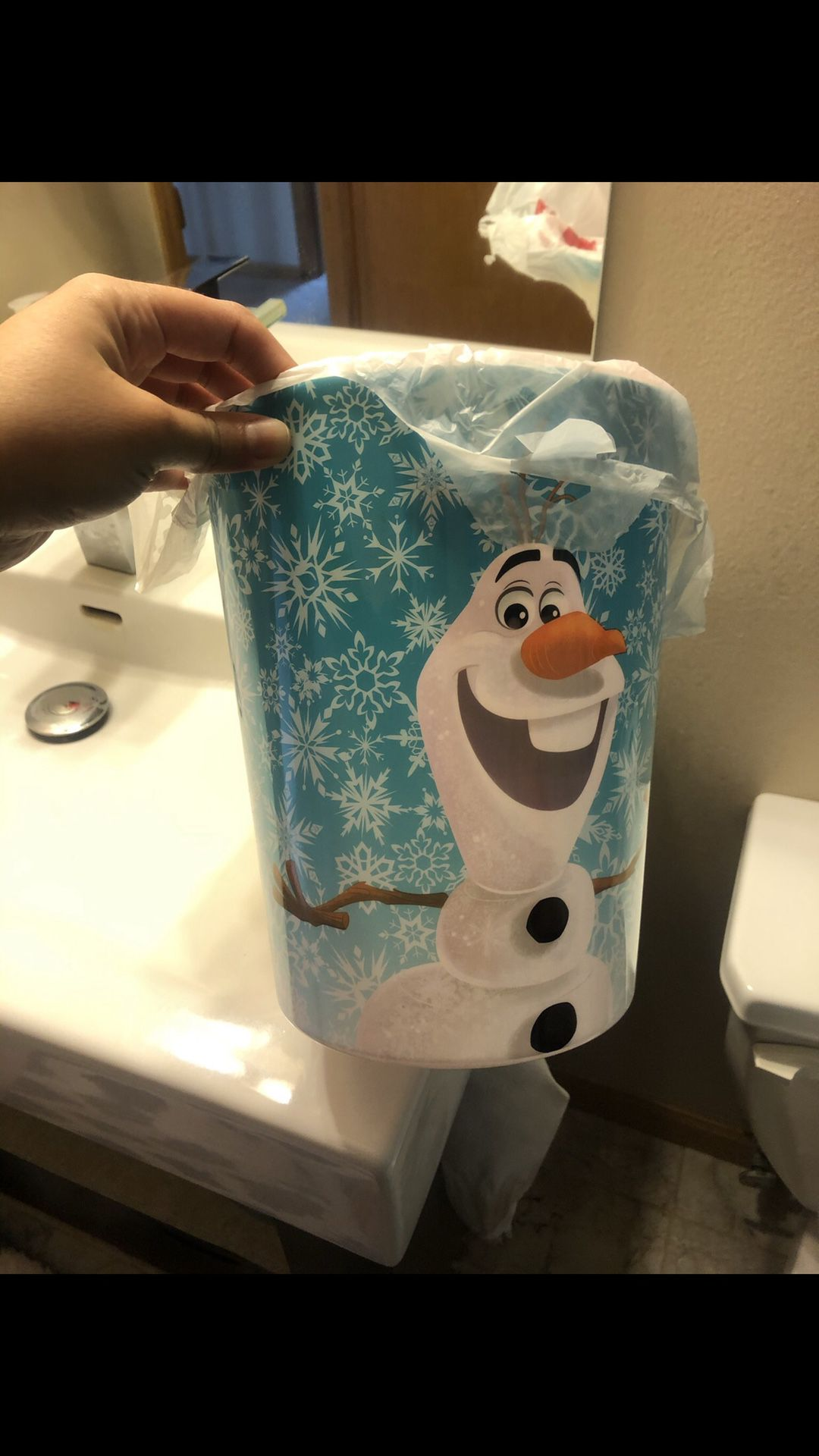 Frozan Bathroom Curtain, Trash can Toothbrush Holder
