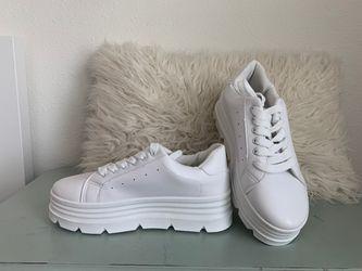Nasty Gal White Platform Sneakers Thumbnail