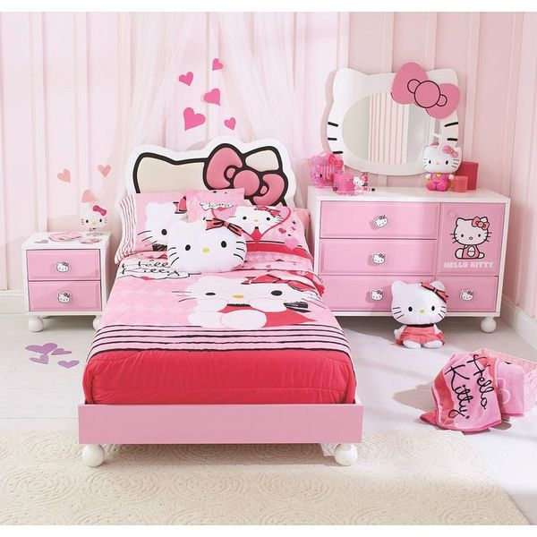 hello kitty twin bedroom set with pillowtop mattress night stand and