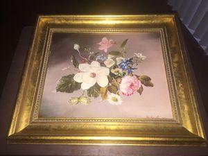 Vintage Floral framed art print Realistic flowers, Gold Frame John Lancaster 1965 for Sale in Silver Spring, MD