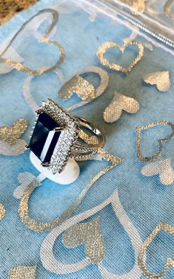 925 sterling silver square stone sapphire ring Thumbnail