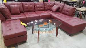 Brand New Red Faux Leather Sectional Sofa Couch + Ottoman for Sale in Arlington, VA