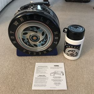 NEW hotwheels tire metal lunch box with thermos for Sale in Silver Spring, MD