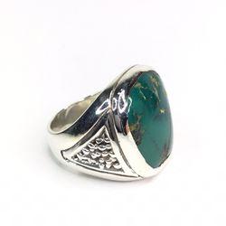 Sterling Silver Large Natural Chrysocolla Ring  Thumbnail
