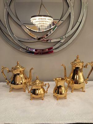 Vintage 24 KT. Gold Electroplated 4 Piece Coffee & Tea Set for Sale in Rockville, MD