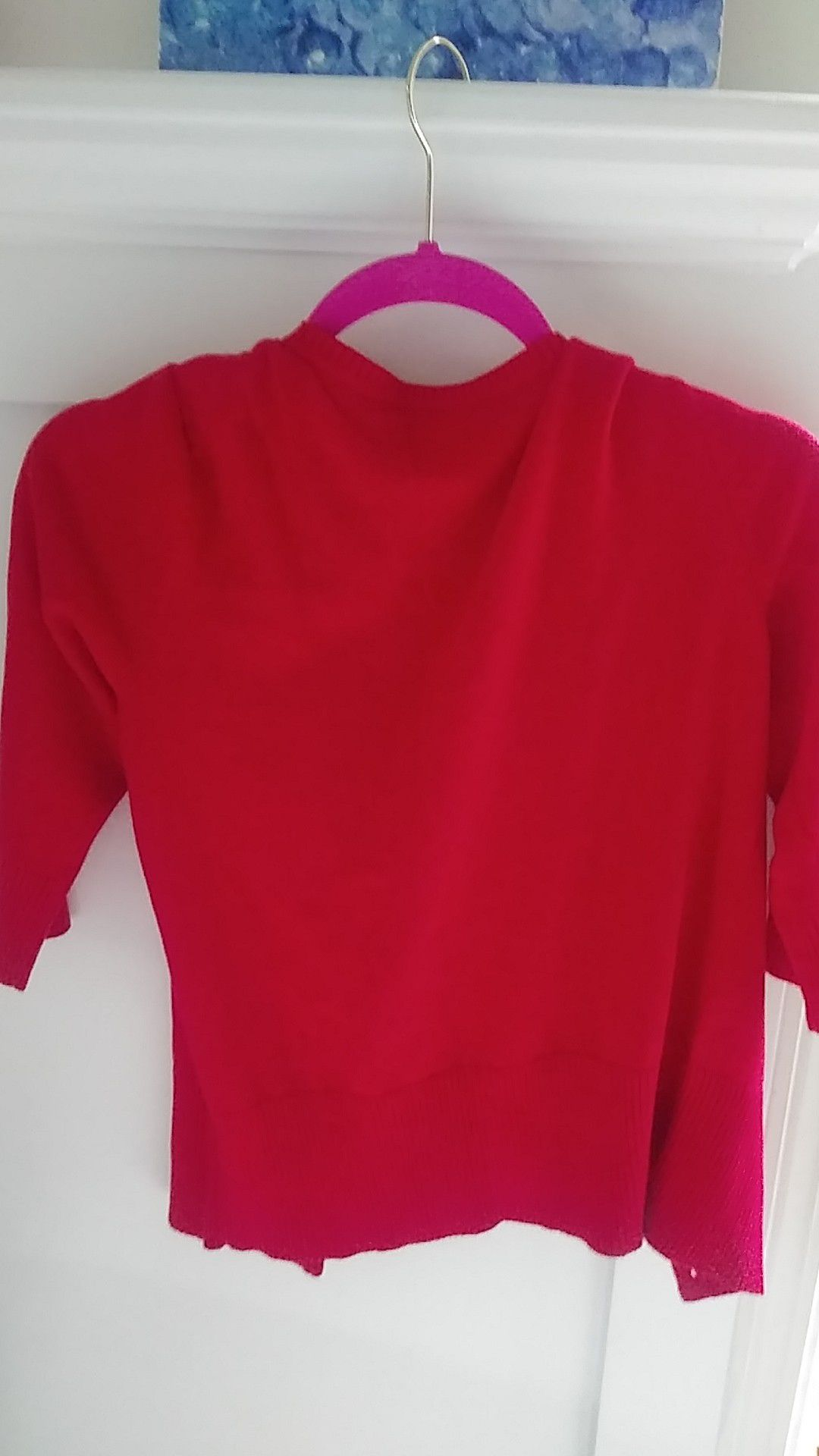 red crop short sleeve cardigan size s