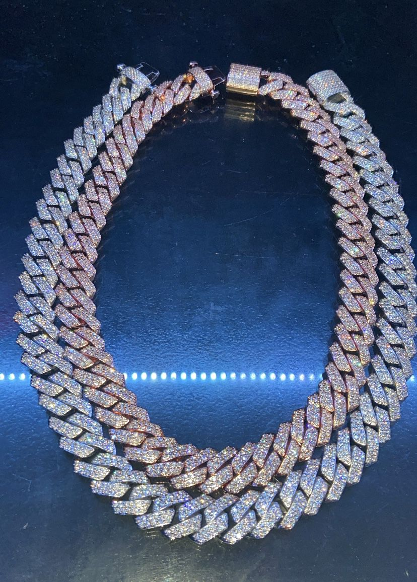 Iced out rose gold cuban link chain