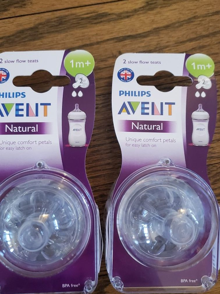 Two Packs Avent Size 2 (1m+) Bottle Nipples