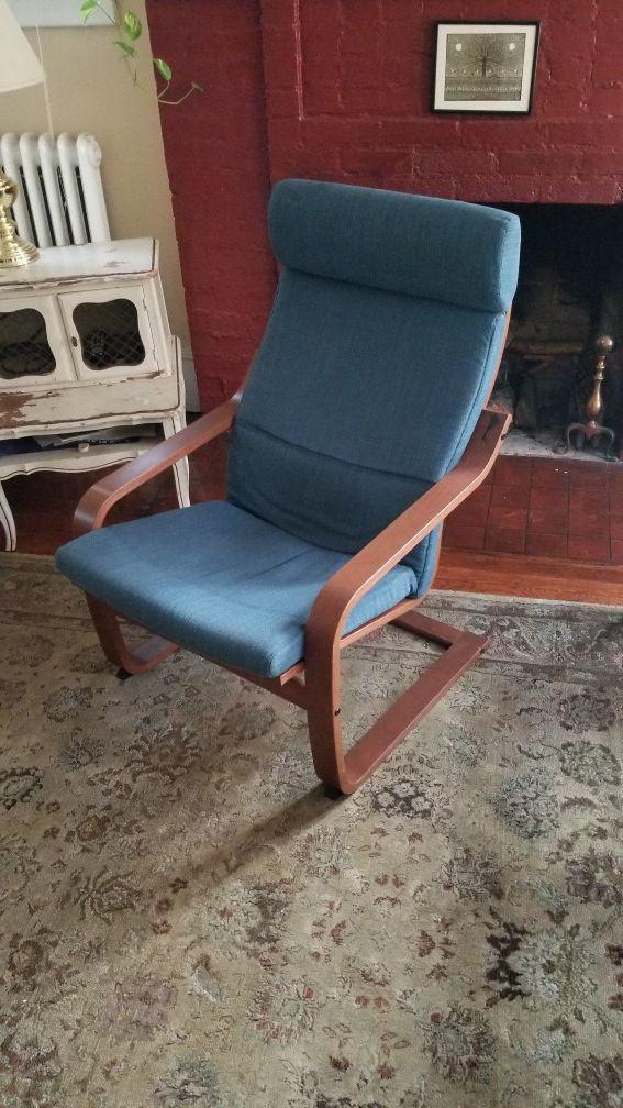 Ikea Poang Armchair Medium Brown Hillared Dark Blue Article