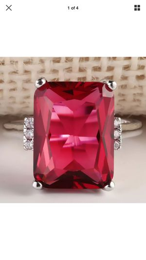 Silver ruby women ring jewelry accessory Christmas gift red Christmas for Sale in Silver Spring, MD