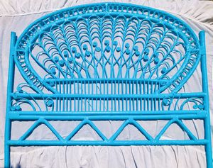 Photo Vintage Twin Peacock Rattan Wicker Bamboo Headboard Bed Frame Boho