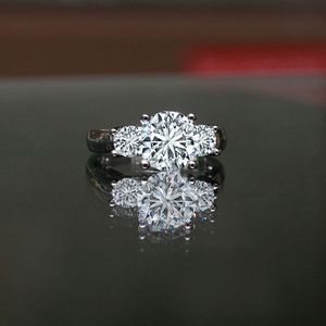 2.5CT intensely Radiant Round three stones Diamond Veneer Wedding/Engagement Sterling Silver ring 635R71261 for Sale in San Diego, CA