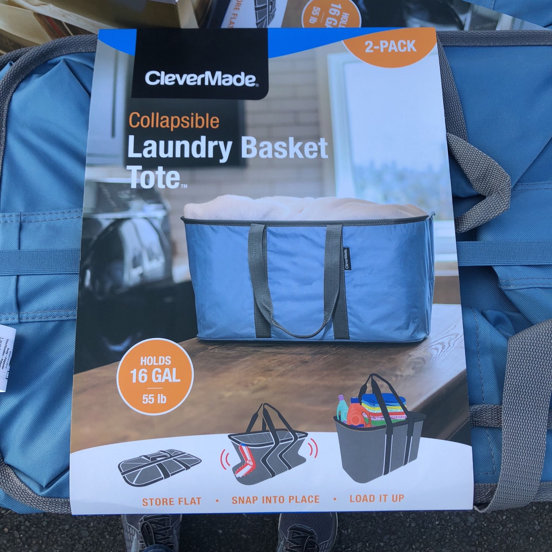 Laundry Basket Tote 2 Pack Collapsible