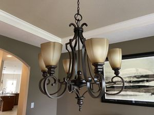 """Photo Wrought iron oil rubbed bronze chandelier 33"""" x 30"""""""