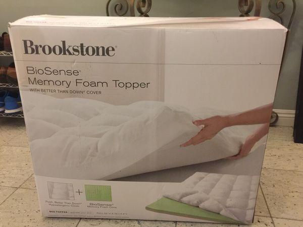 Brookstone Biosense Memory Foam Topper Full 52 W X 73 L X 4 H New