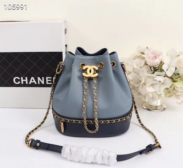 244b563ef6347e CHANEL Lambskin Caviar CC Drawstring Bucket Bag Blue Black for Sale ...