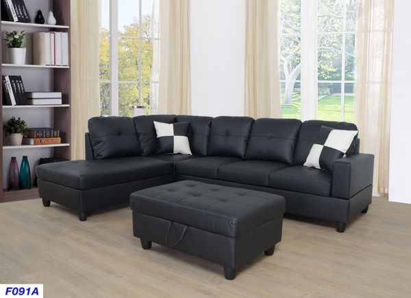 New Black Faux Leather Sectional Sofa With Storage Ottoman For Sale