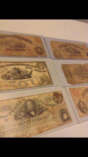 6 Rare 1862-1864 United States Currency Notes-- State Treasury Notes-- Some Rare Notes ($5 State of Louisiana & $50 State of Alabama)! for Sale in Reston, VA