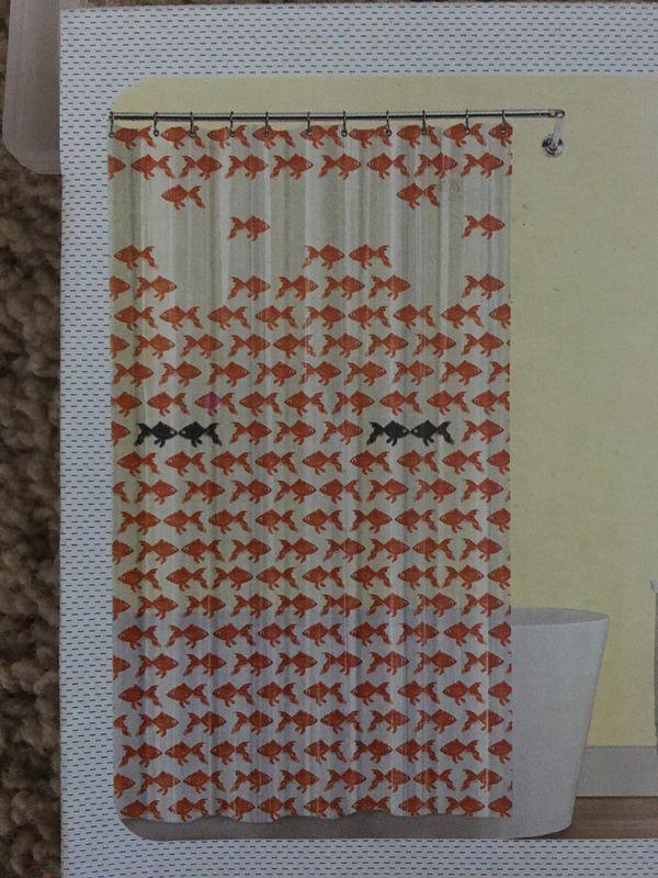 Red black fish peva vinyl shower curtain by splash NEW for Sale in ...