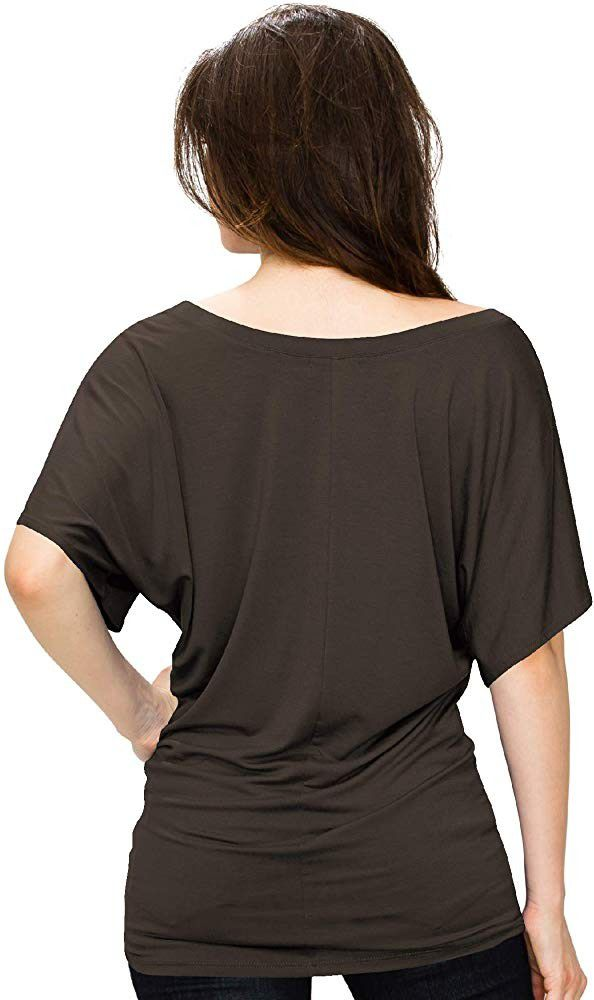 Lock and Love Women's Solid Short Sleeve Boat Crew Neck V Neck Dolman Top (small)