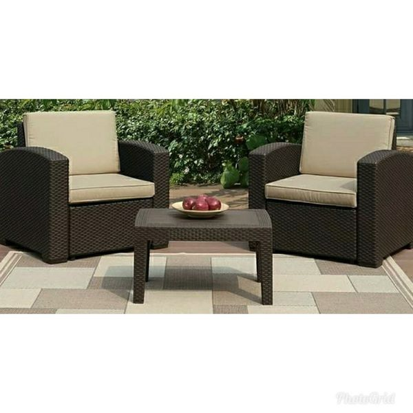 New Patio Furniture Set Tail Table And 2 Arm Chairs In Ontario Ca Offerup