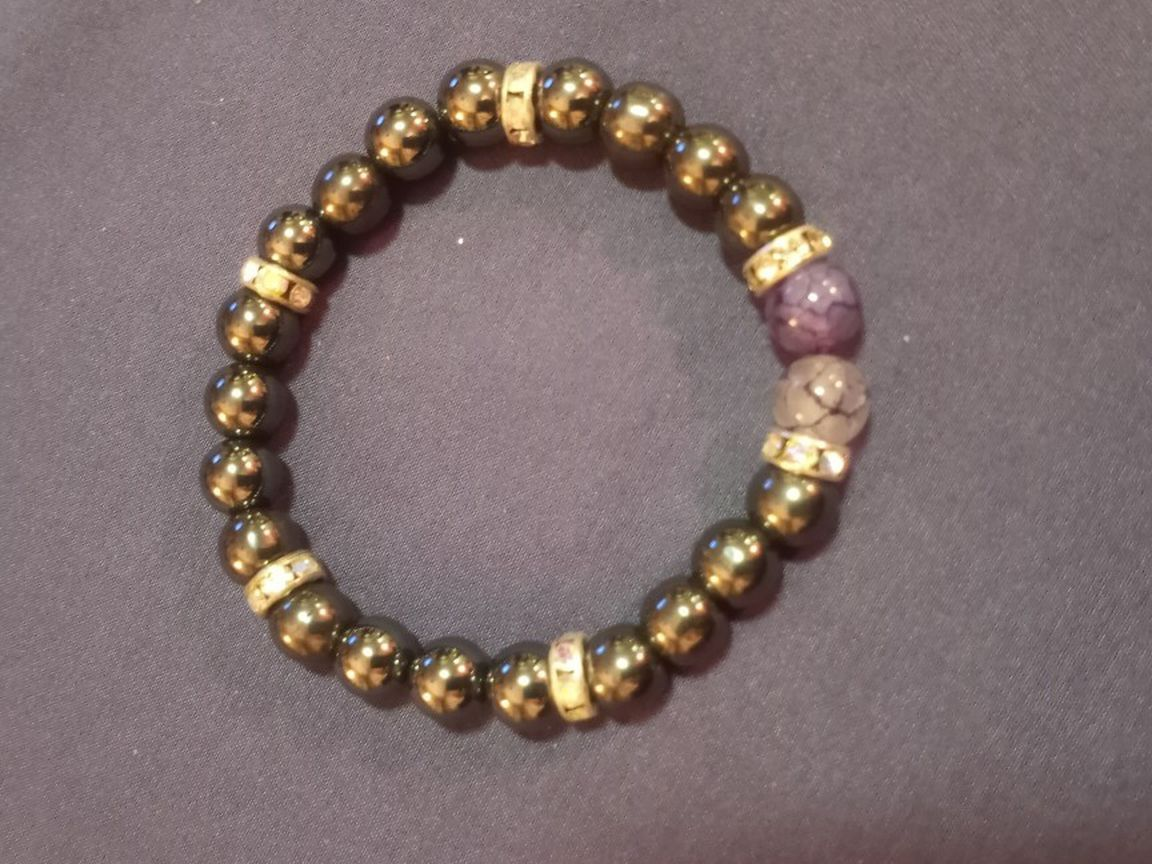 Therapeutic Hematite And Dyed Purple Agate Bead Bracelet