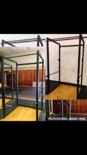 Photo DISCOUNTED SPECIAL • COMMERCIAL CAGE WEIGHT RACK PLUS BAR WEIGHTS